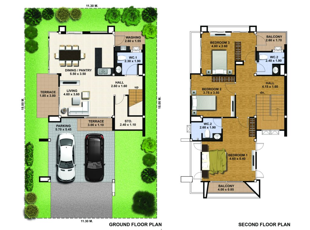 House Desing 3d Plot 11x18 with 3 Bedrooms floor plans