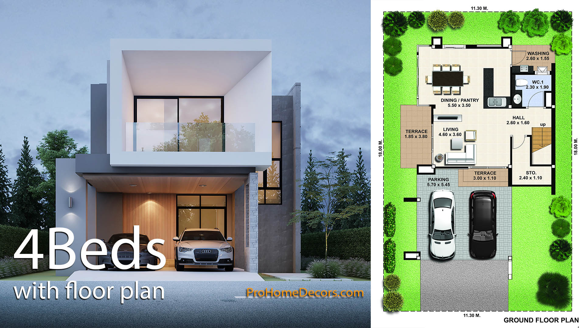 House Design Plan 11×18 with 3 Bedrooms