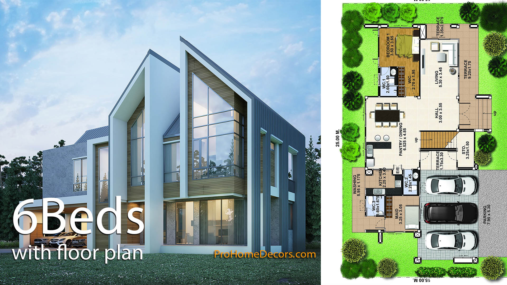 House Design Plot 25×15 with 6 Bedrooms