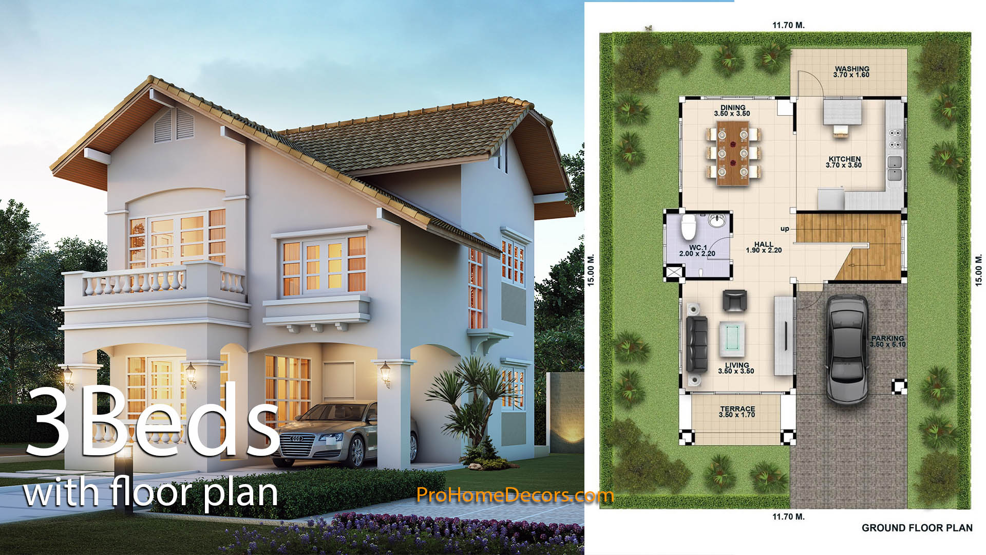 House Plan 3d 11×15 with 3 Bedrooms