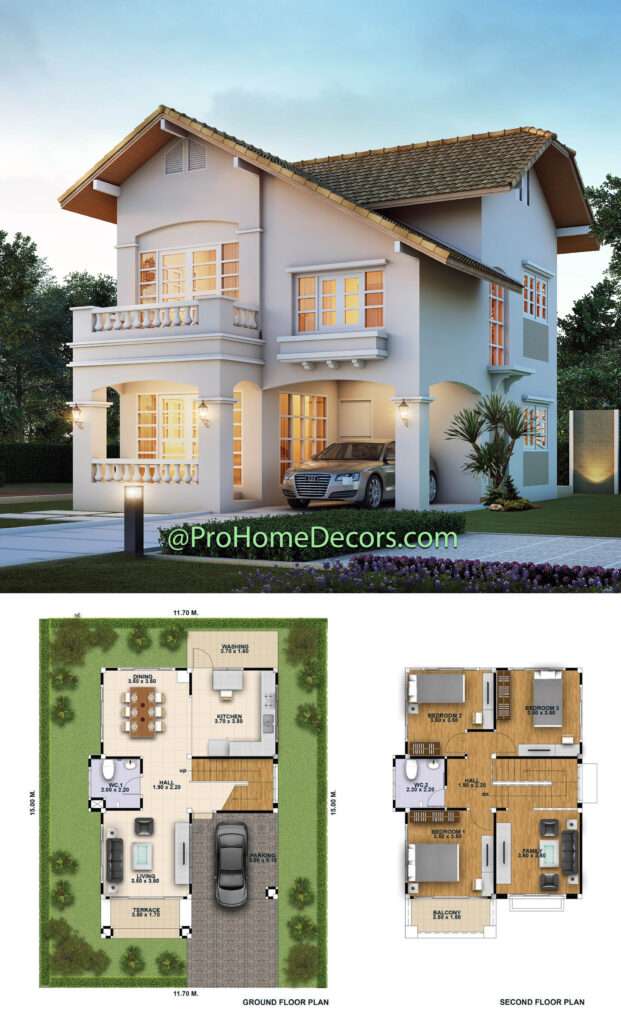 House Design 3d 11x15 with 3 Bedrooms