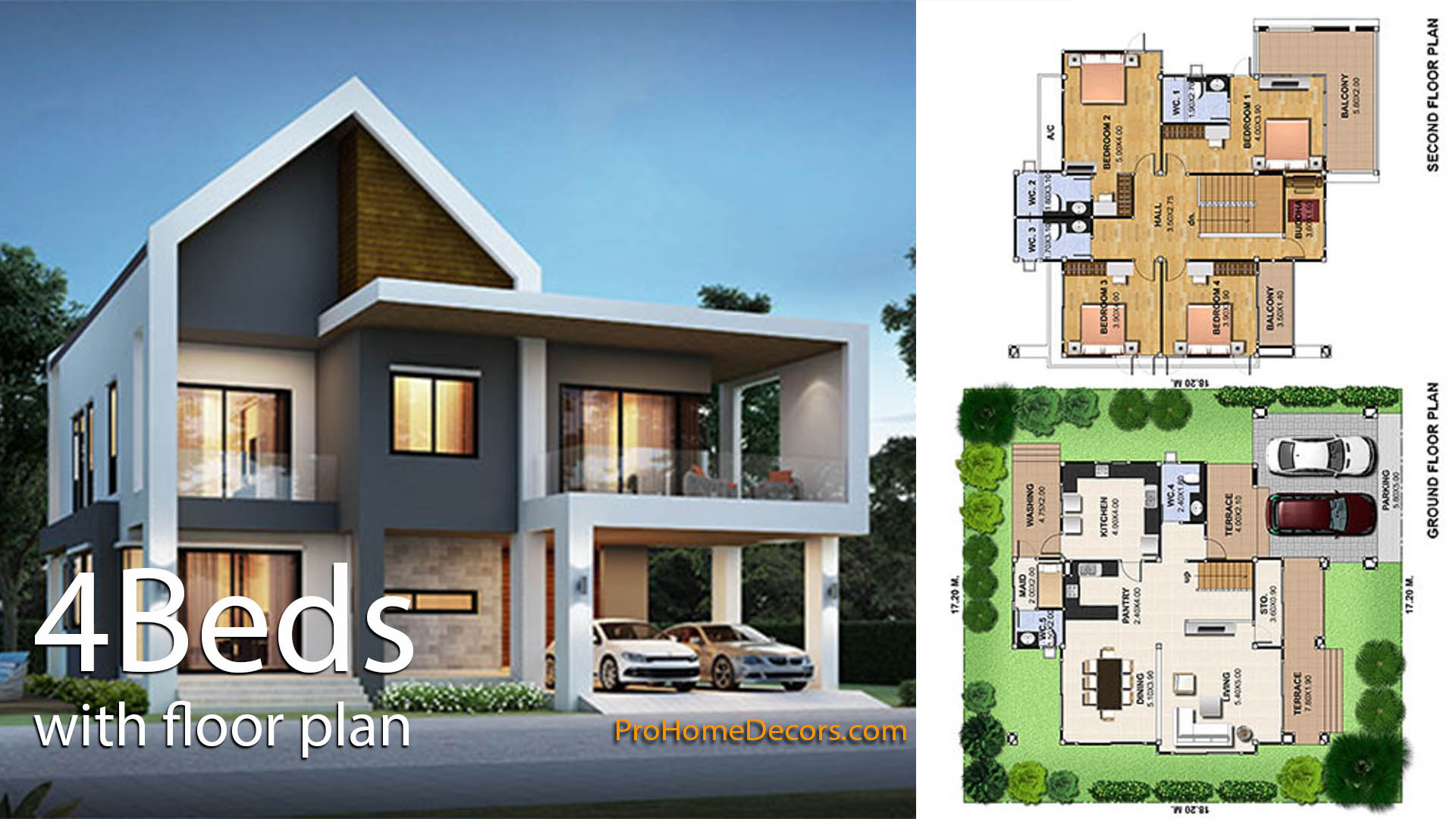 House Plan Plot 17×18 with 4 Bedrooms