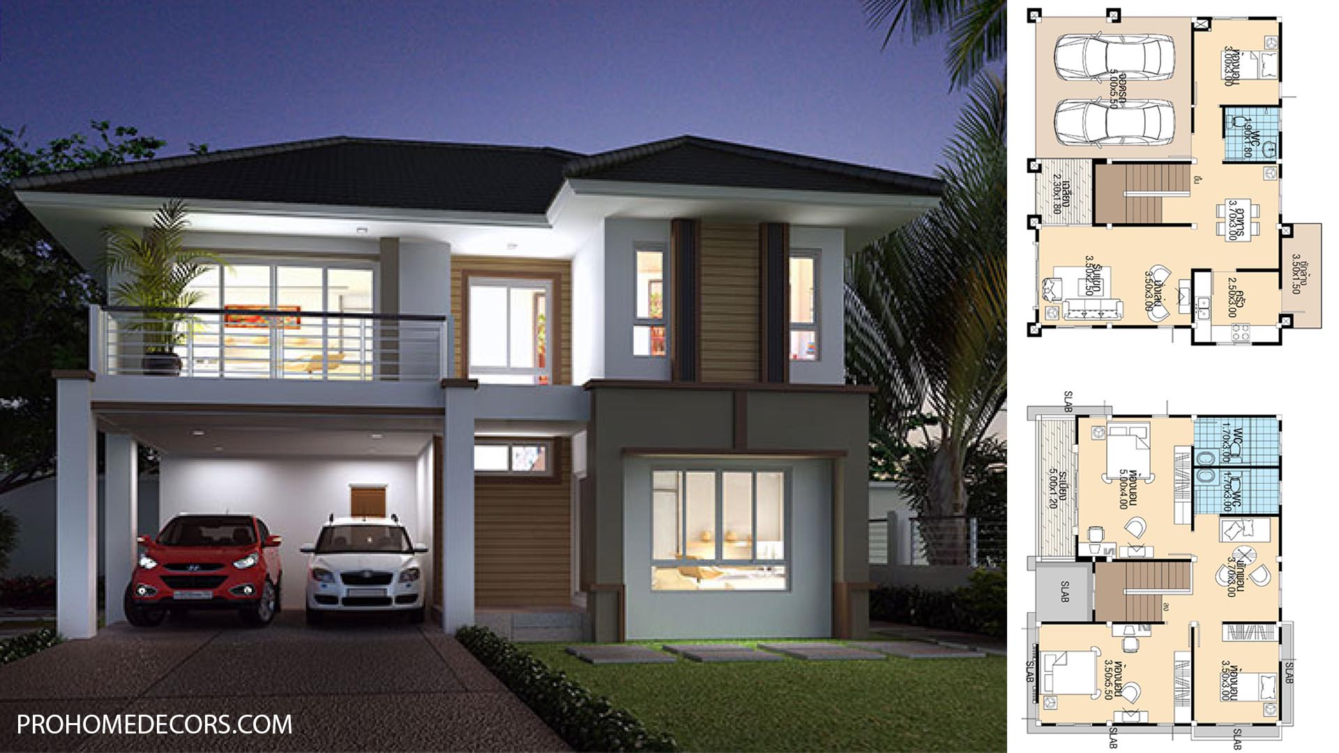 House Plans 11.3×8.5 with 4 Bedrooms