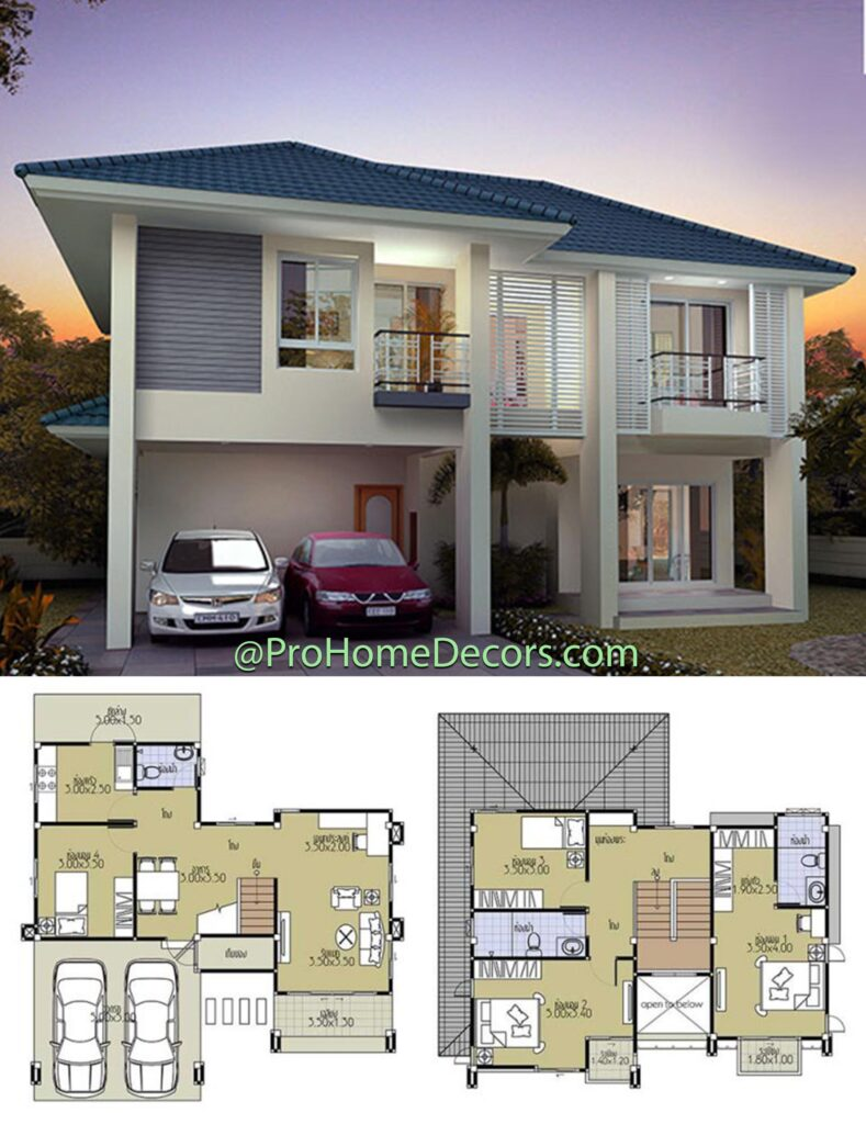 House Plans 11x10 with 4 Beds 2