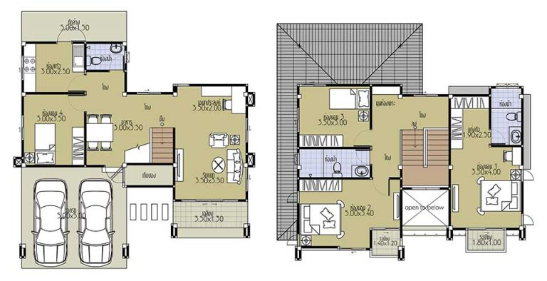 House Plans 11x10 with 4 Beds floor plan