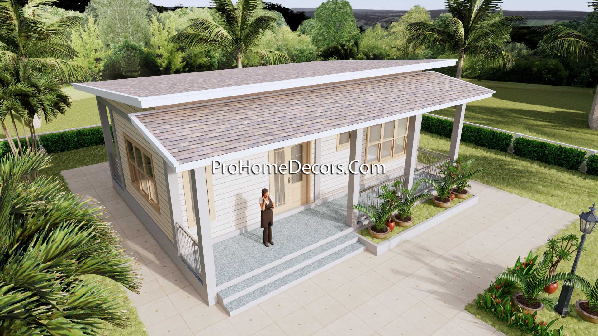 House Design Plans 32x16 Shed Roof 1 Bed PDF Plan 3