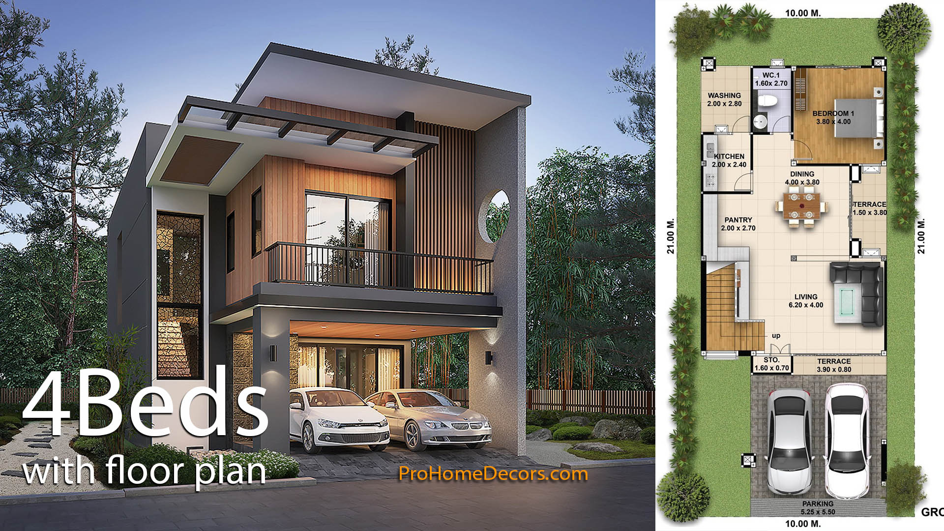 House Plans 3d 10×21 with 4 Bedrooms