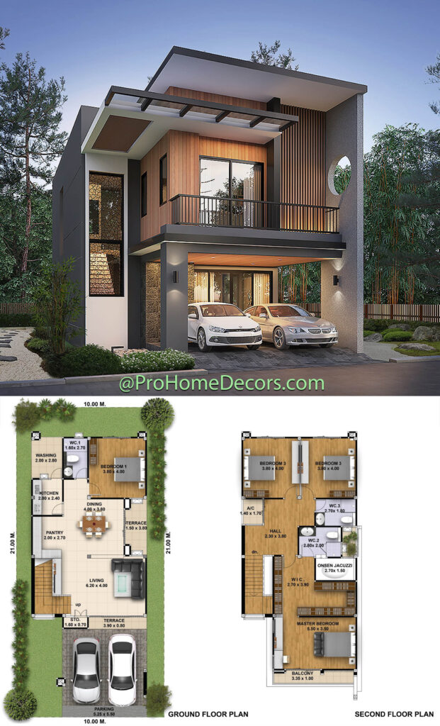 House Plans 3d 10x21 with 4 Bedrooms