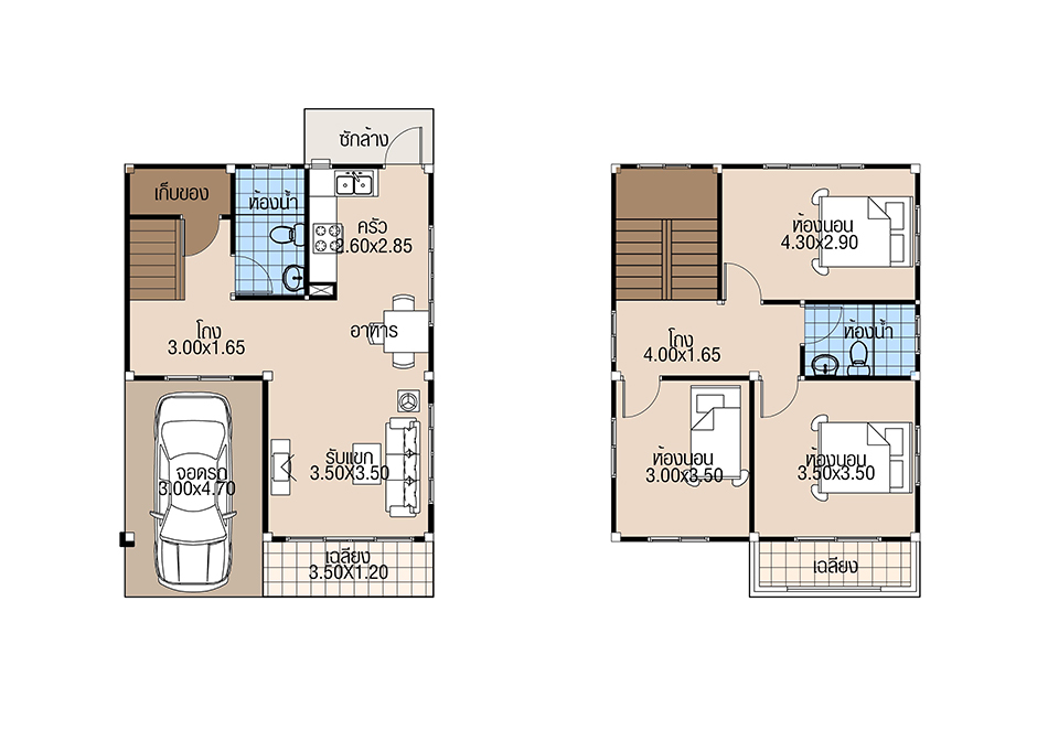 House Plans 6.5x8 with 3 Beds floor plan