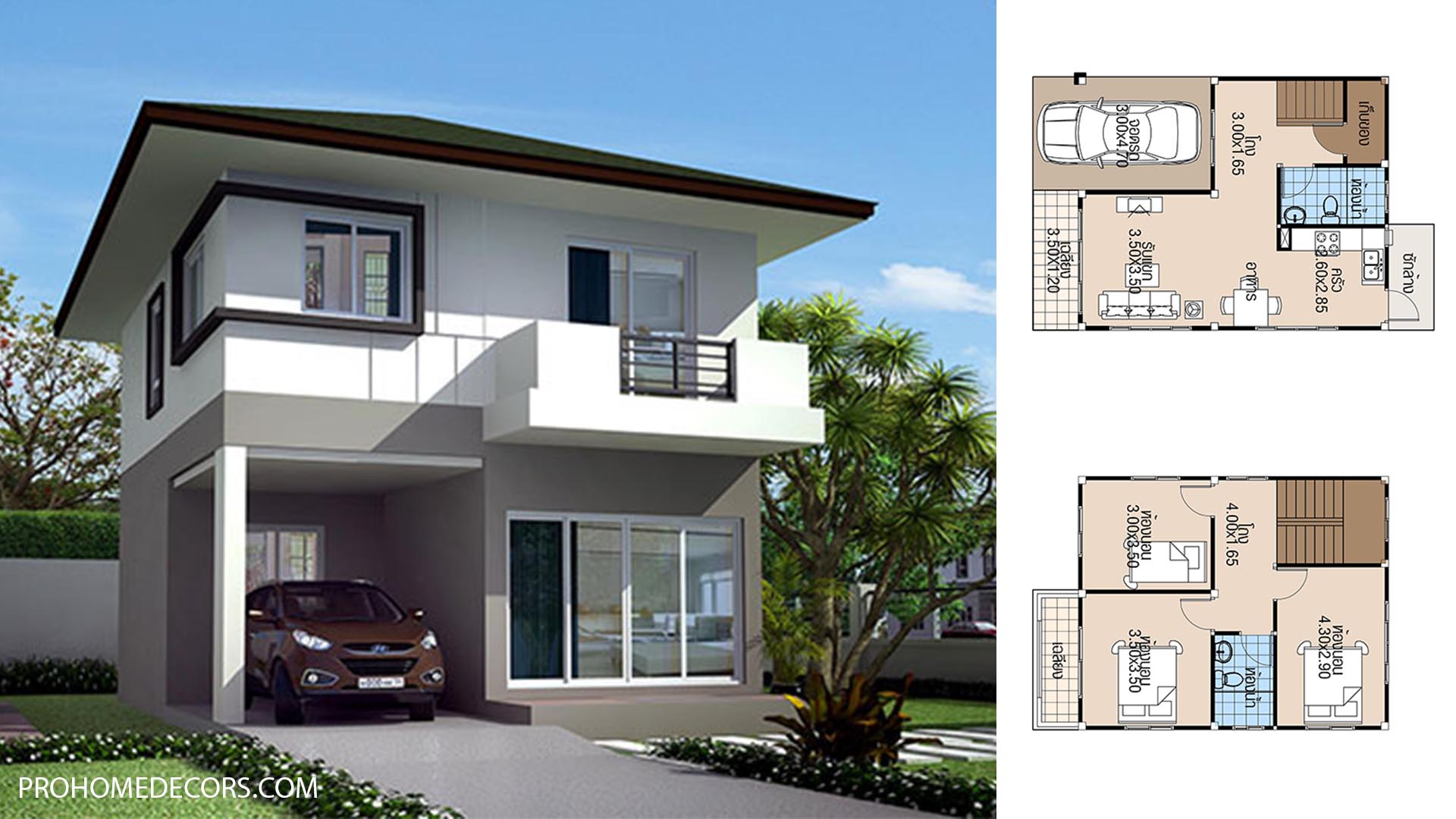 House Plans 6.5×8 with 3 Beds