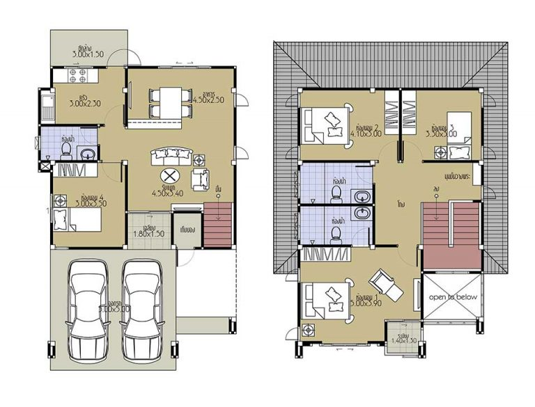 House Plans 7.5x10.5 with 4 Beds floor plan