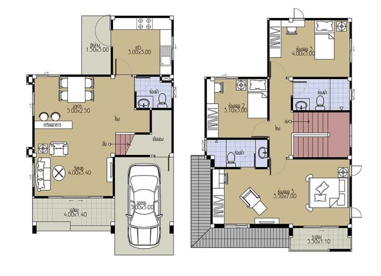 House Plans 7x10.5 with 3 Beds floor plans