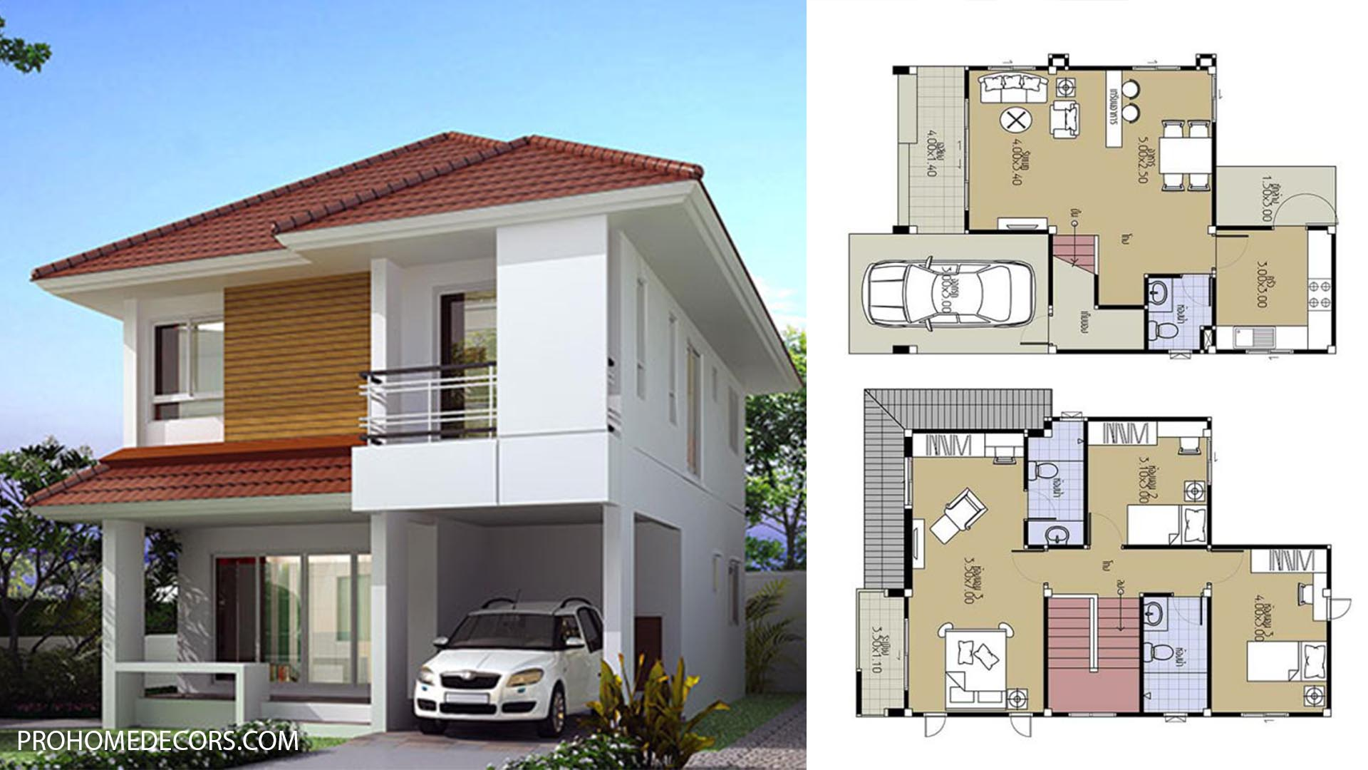House Plans 7×10.5 with 3 Beds