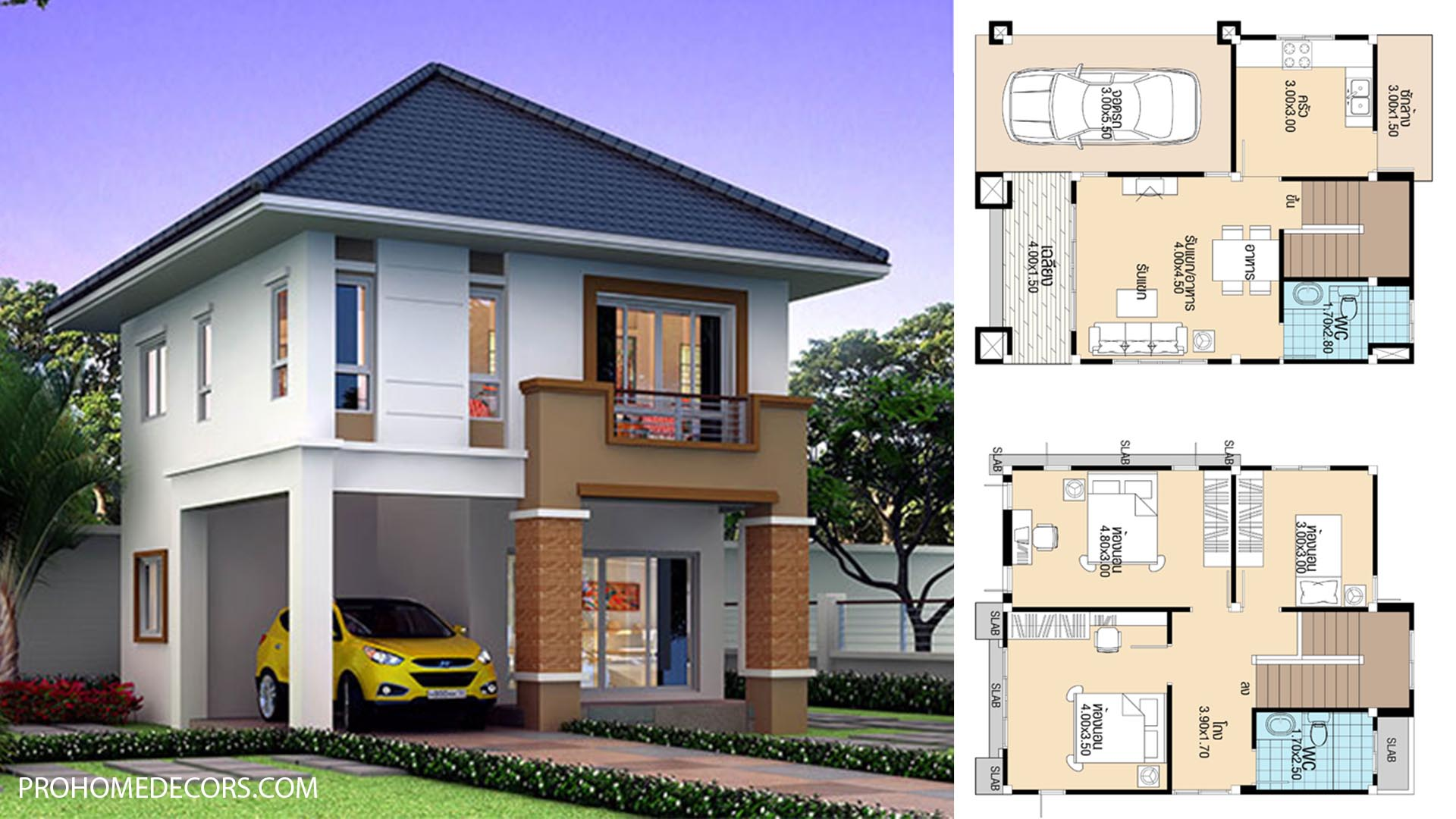 House Plans 7×8.9 with 3 Beds