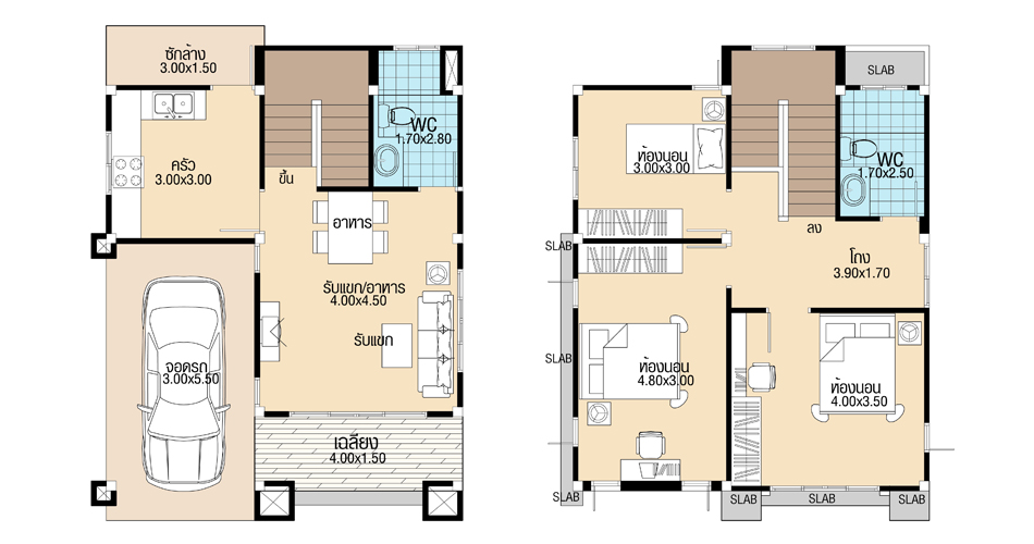 House Plans 7x8.9 with 3 Beds floor plan