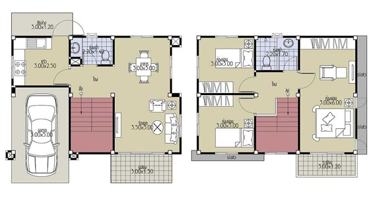 House Plans 8.2x6 with 3 Beds Floor plan