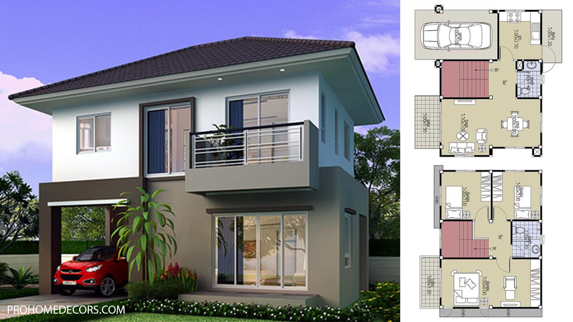 House Plans 8.2×6 with 3 Beds
