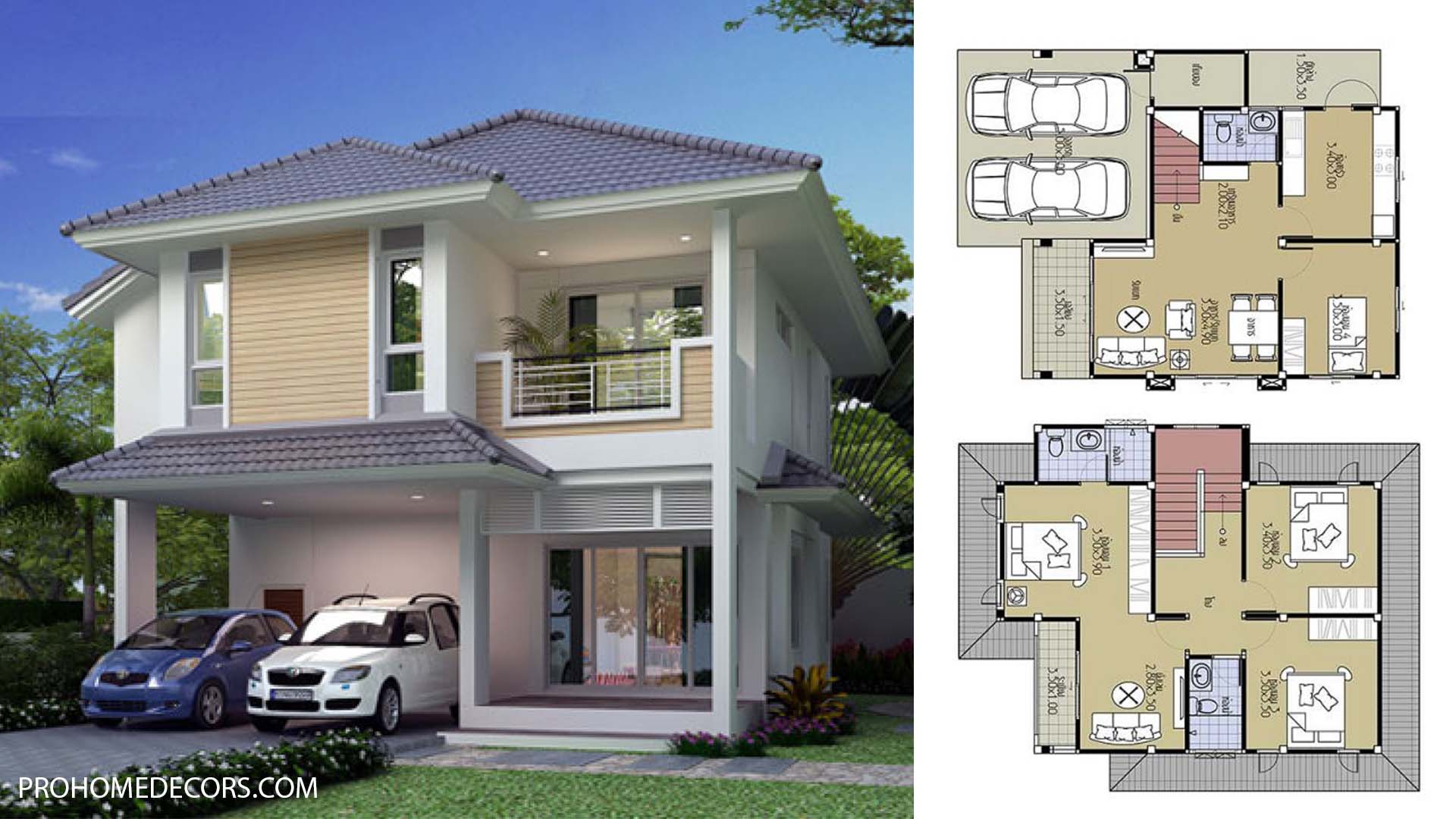 House Plans 8.5×9.5 with 4 Bedrooms
