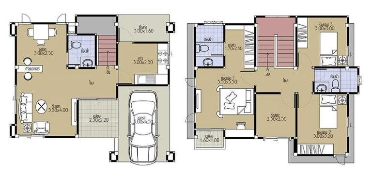 House Plans 8.8x7.5 with 3 Beds floor plan