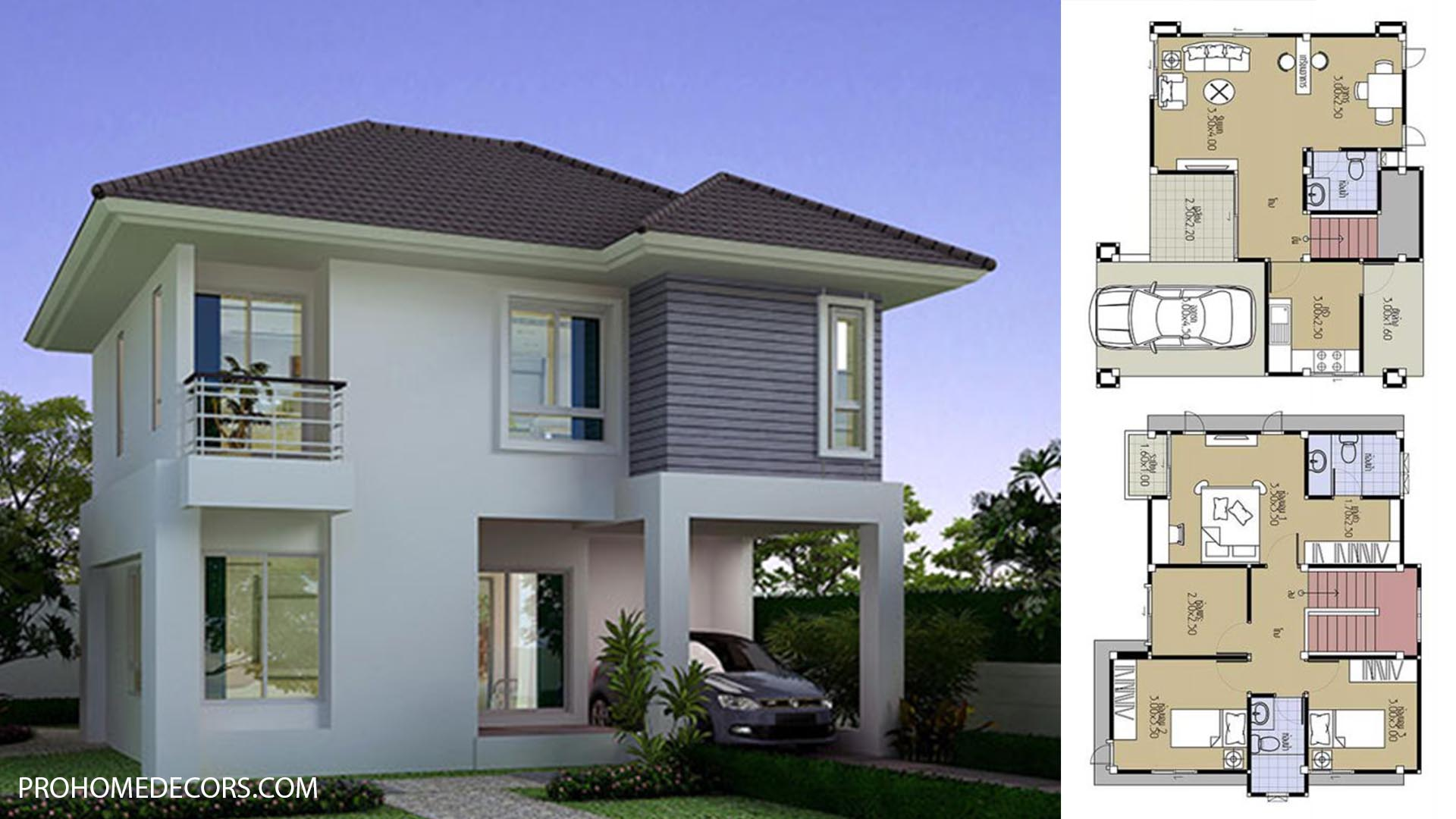 House Plans 8.8×7.5 with 3 Beds