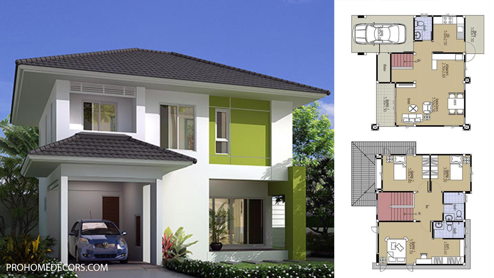 House Plans 8.8×8 with 3 Beds