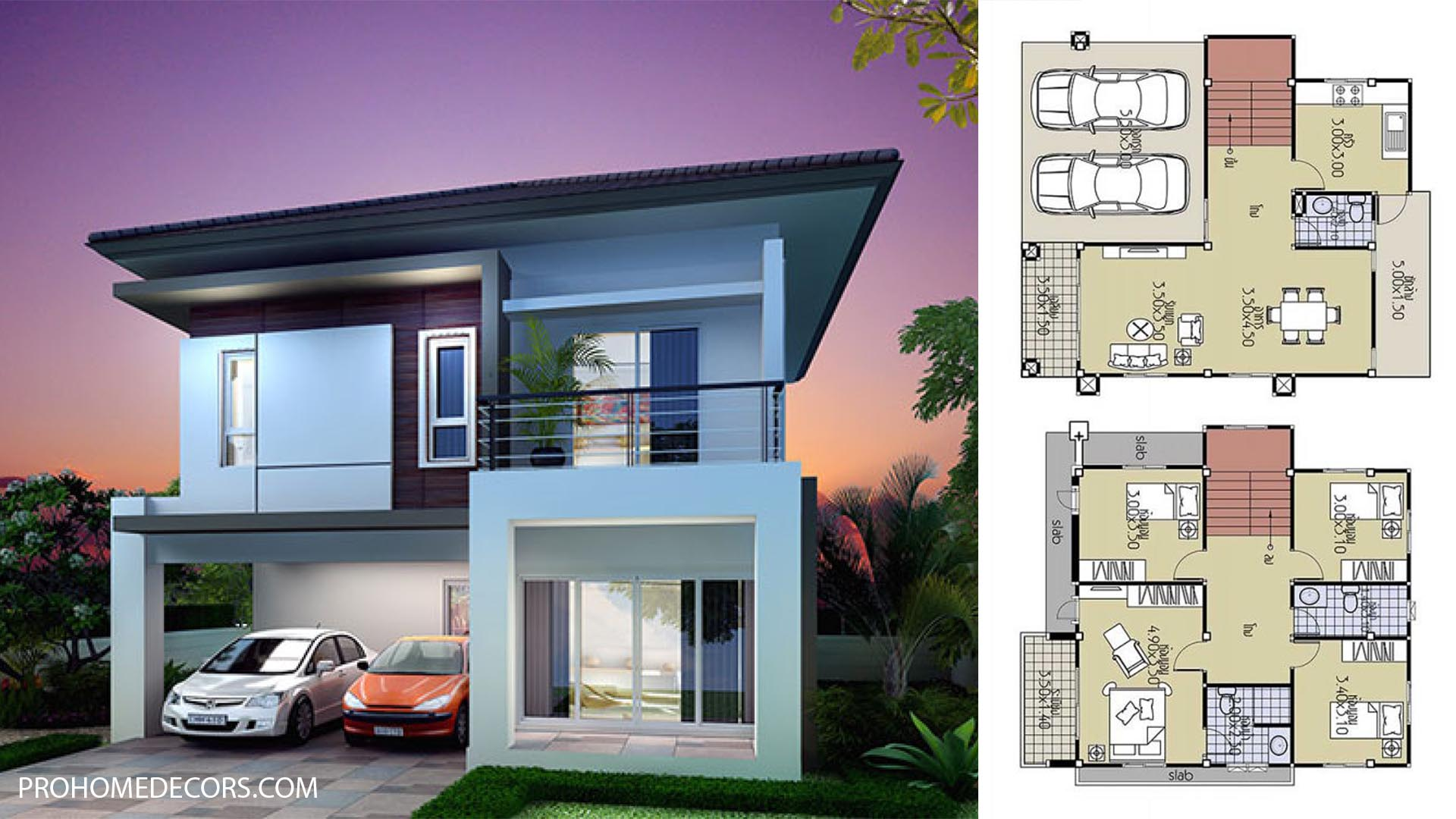 House Design Plans 8×10.5 with 4 Bedrooms