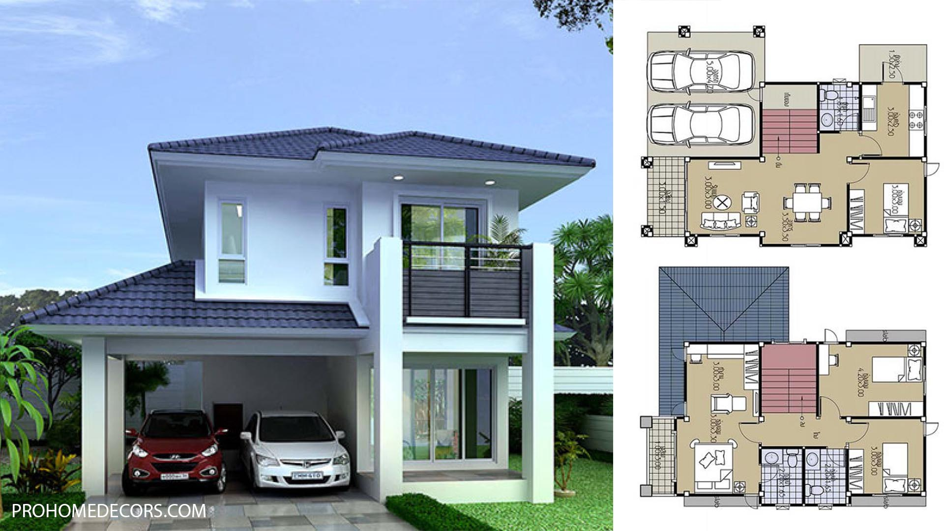 House Design Plans 8×11 with 4 Beds
