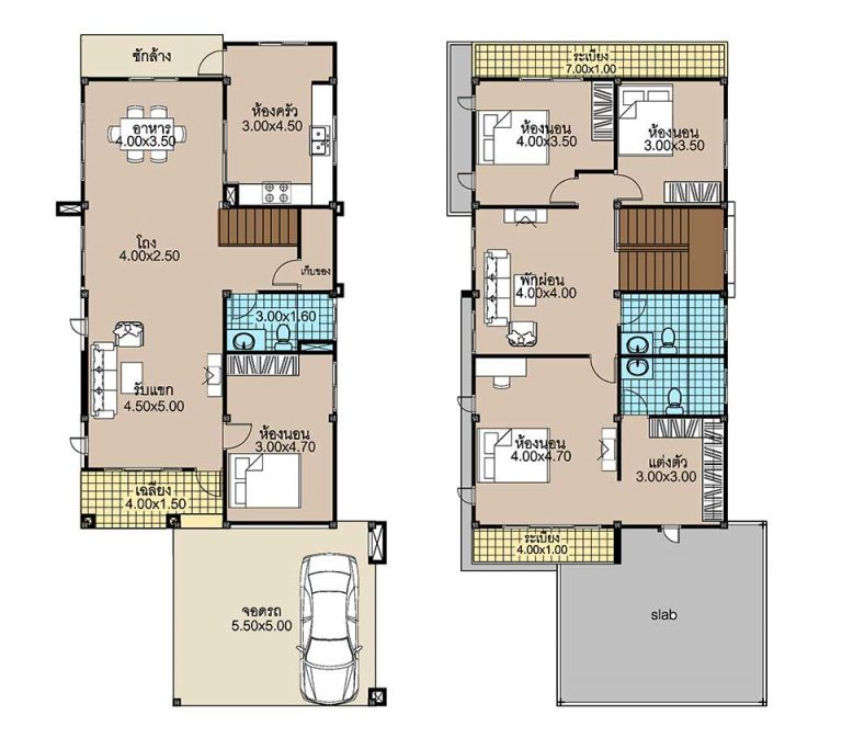 House Plans 8x17.5 with 4 Beds floor plan