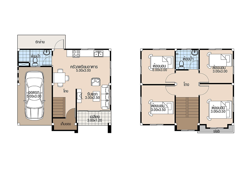 House Plans 8x6.5 with 4 Beds floor plan