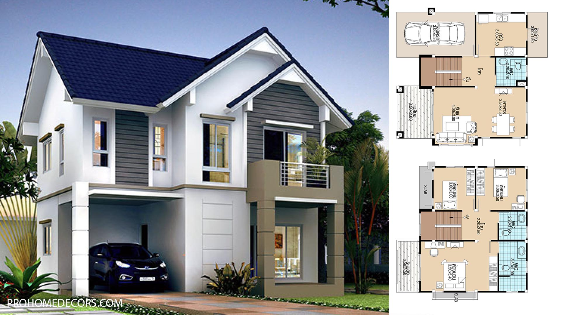 House Plans 9.2×8.5 with 3 Bedrooms