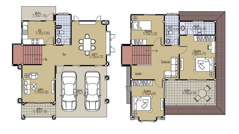House Plans 9x10.2 with 3 Beds floor plan