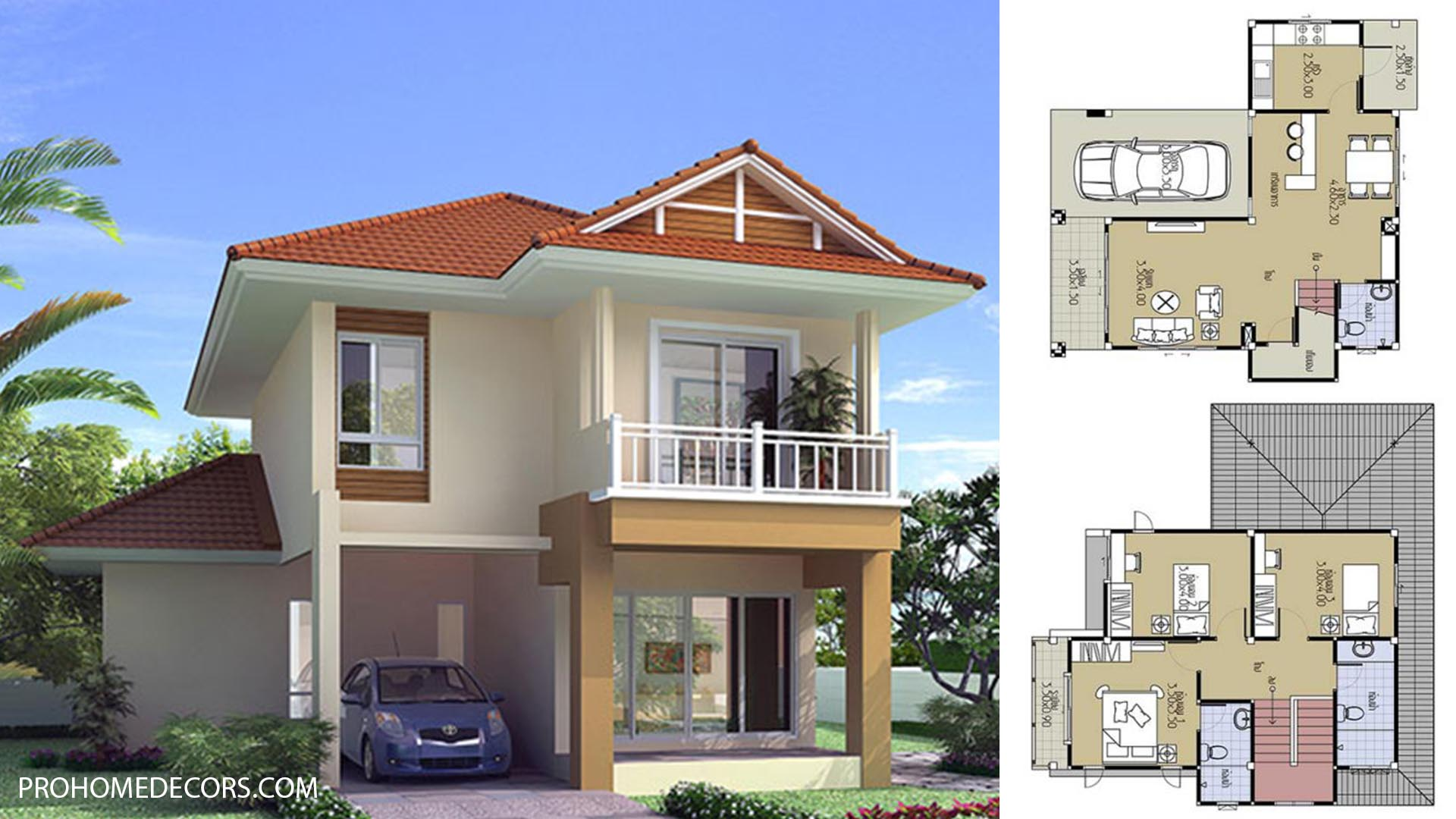 House Plans 9×9.5 with 3 Beds