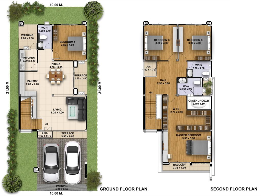 House Plans 3d 10x21 with 4 Bedrooms floor plan