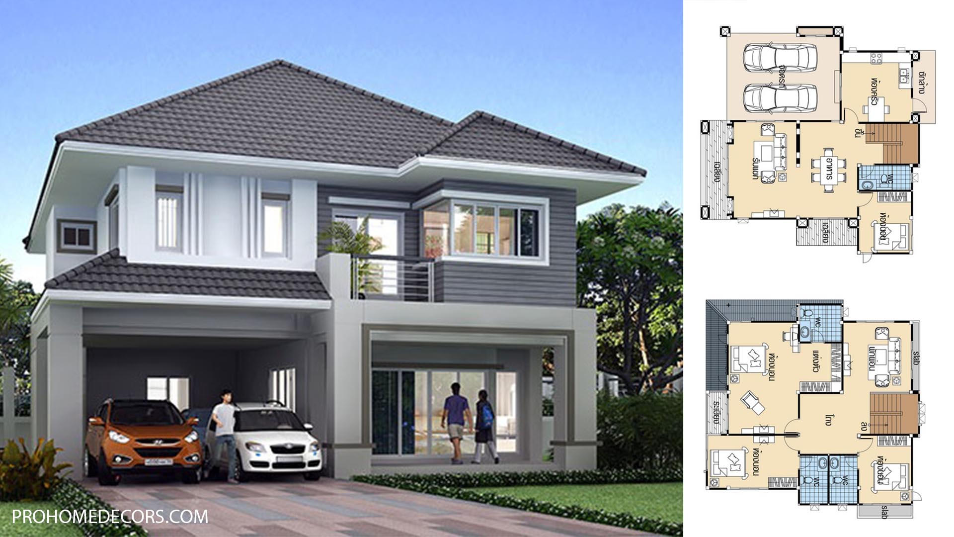 House design plans 12.5×12 with 4 Beds