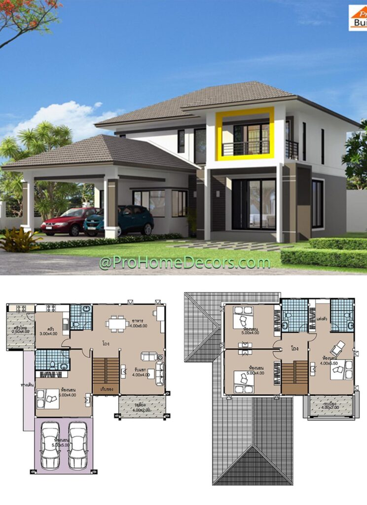 House-plans-14x15-with-4-Beds-2