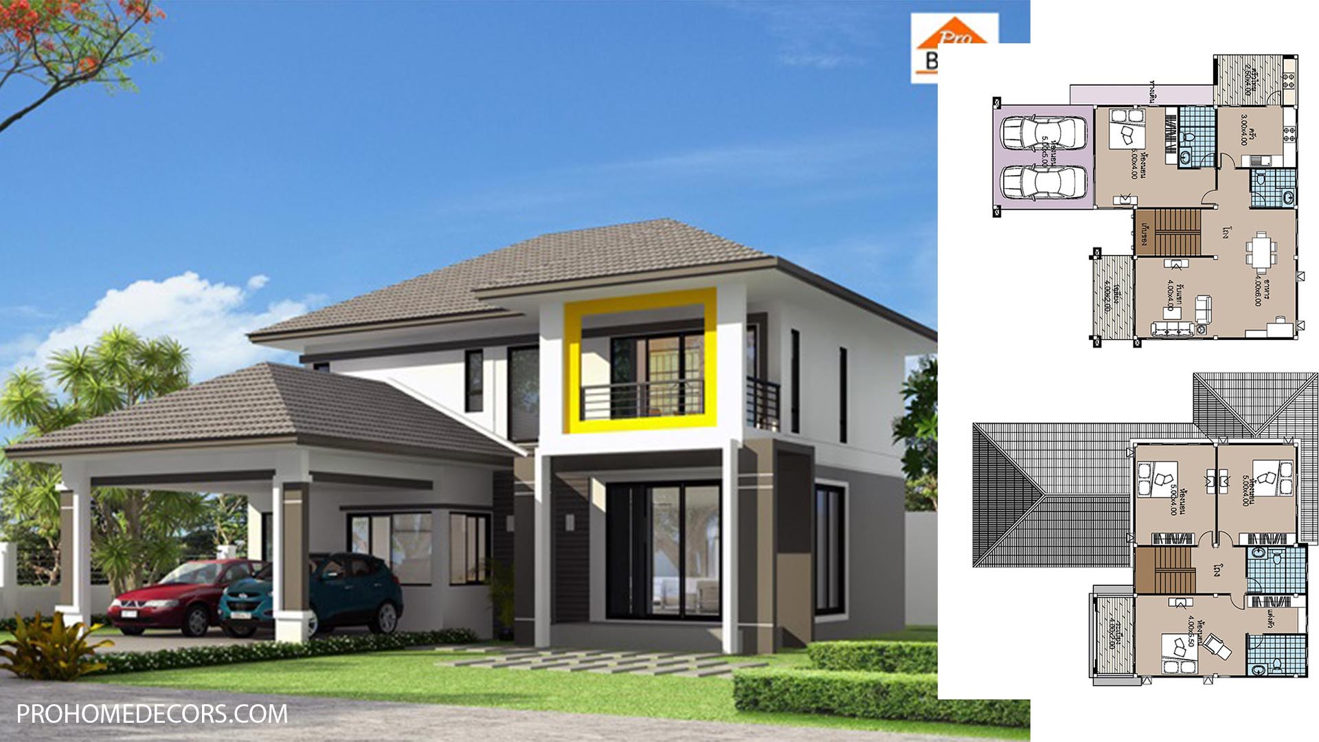 House plans 14×15 with 4 Beds