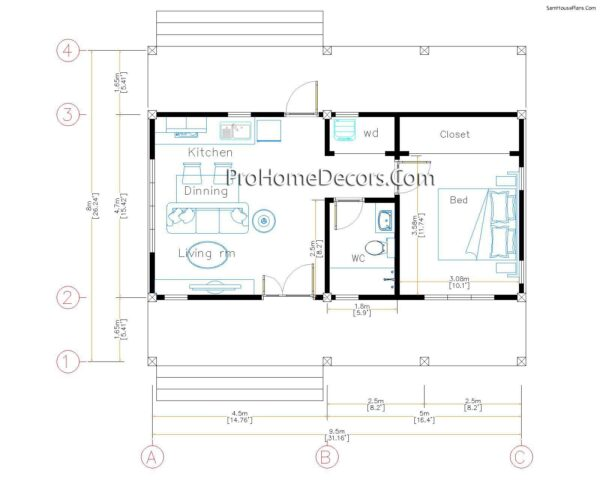 House Design Plans 32x16 Shed Roof 1 Bed PDF Plan